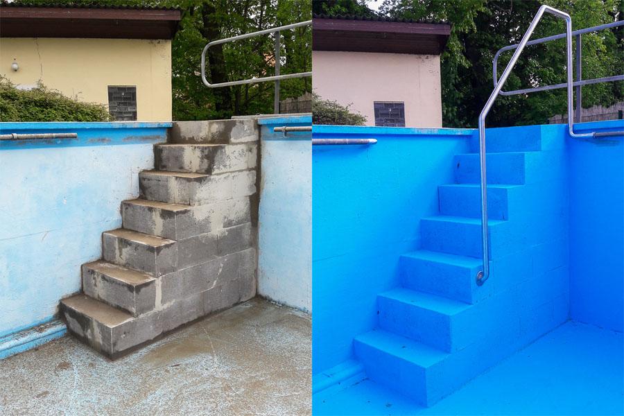 Neue Treppe in das Schwimmerbecken